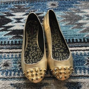 Gold leather spiked flats